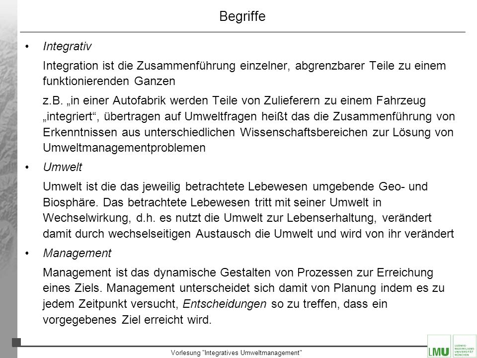 Vorlesung Integratives Umweltmanagement