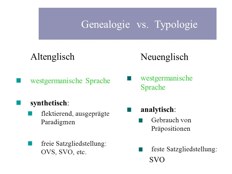 Genealogie vs. Typologie