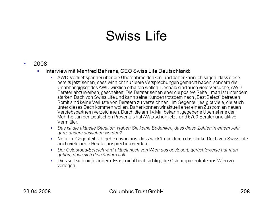 Swiss Life Interview mit Manfred Behrens, CEO Swiss Life Deutschland: