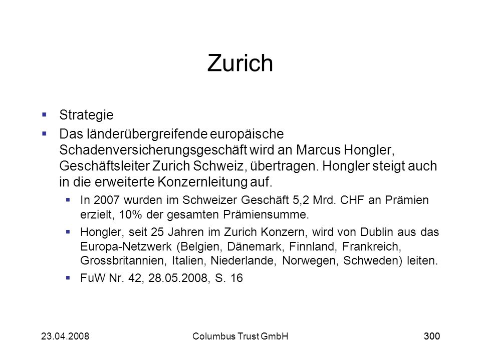 Zurich Strategie.