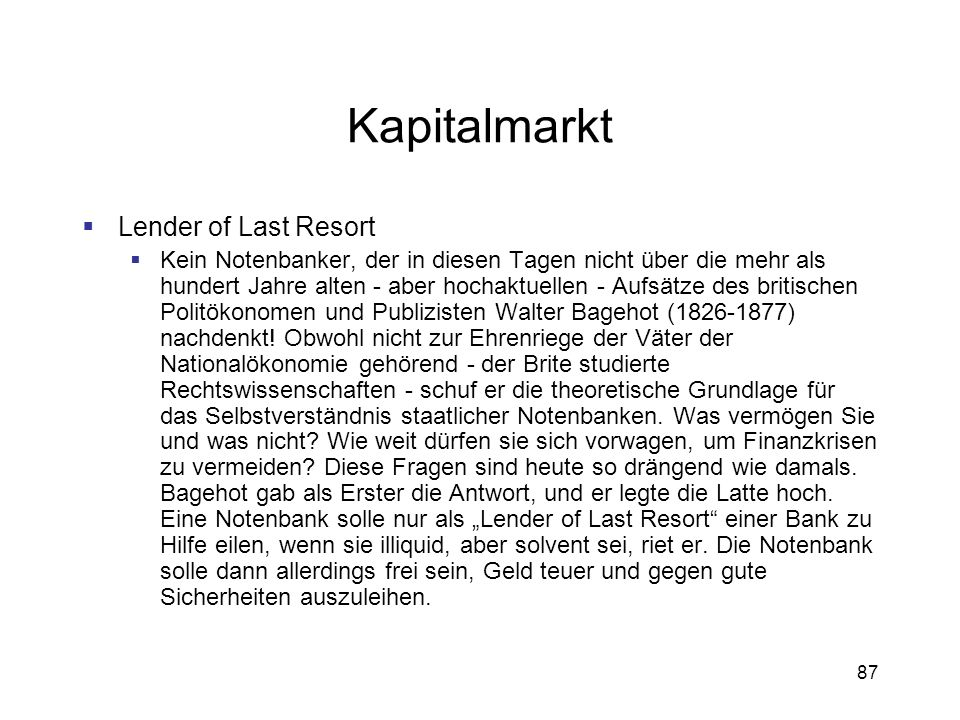 Kapitalmarkt Lender of Last Resort