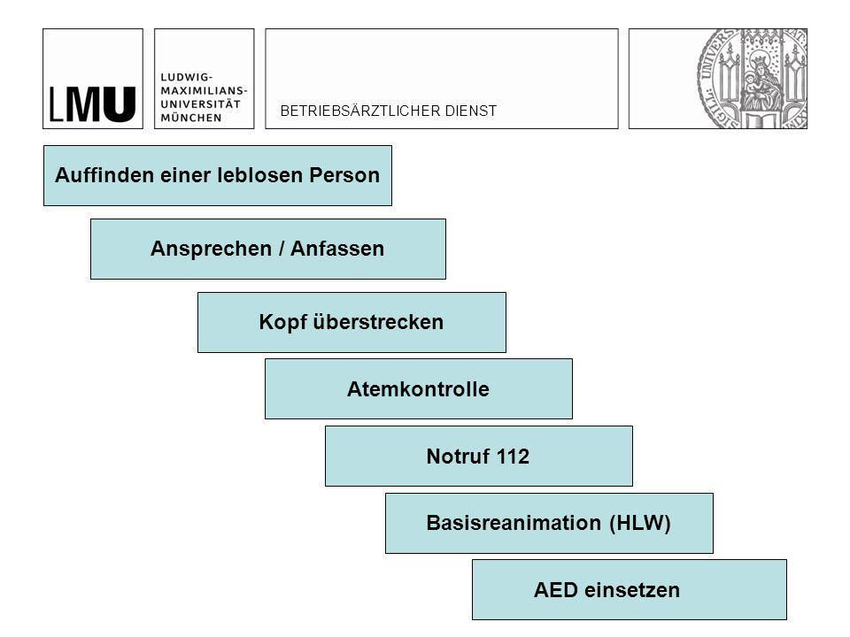 Auffinden einer leblosen Person Basisreanimation (HLW)