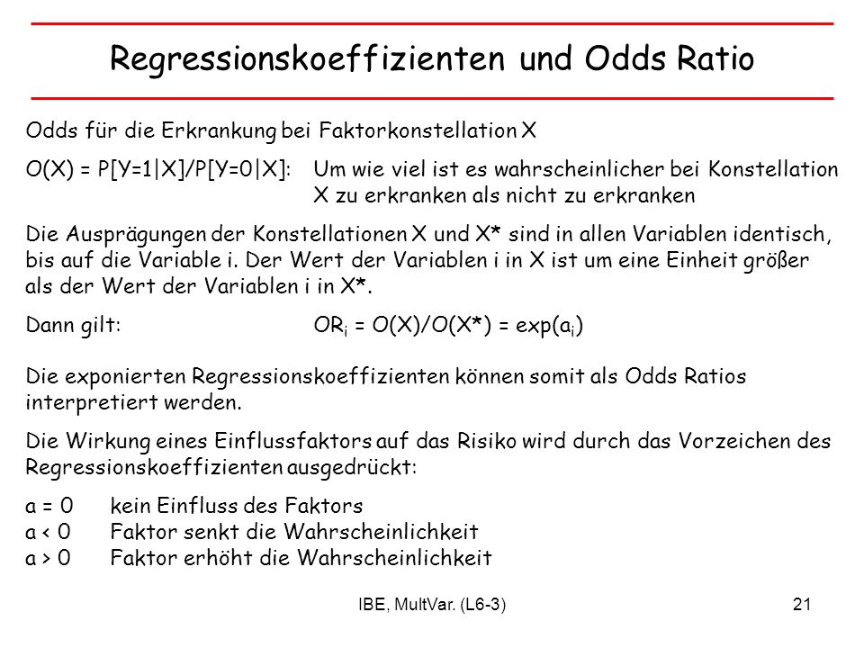 Regressionskoeffizienten und Odds Ratio