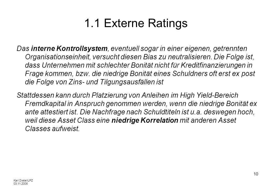 1.1 Externe Ratings