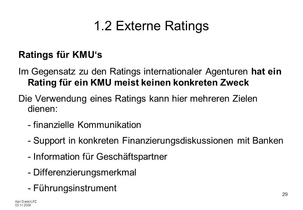 1.2 Externe Ratings Ratings für KMU's