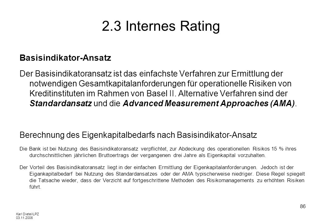 2.3 Internes Rating Basisindikator-Ansatz
