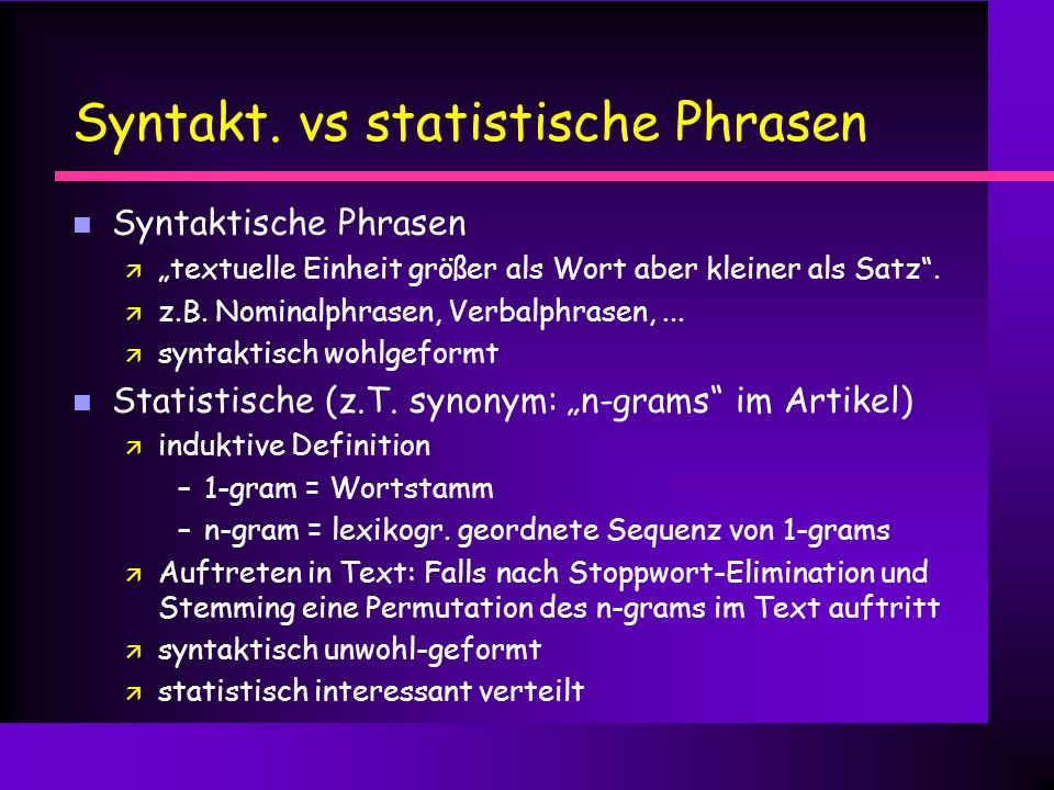 Syntakt. vs statistische Phrasen