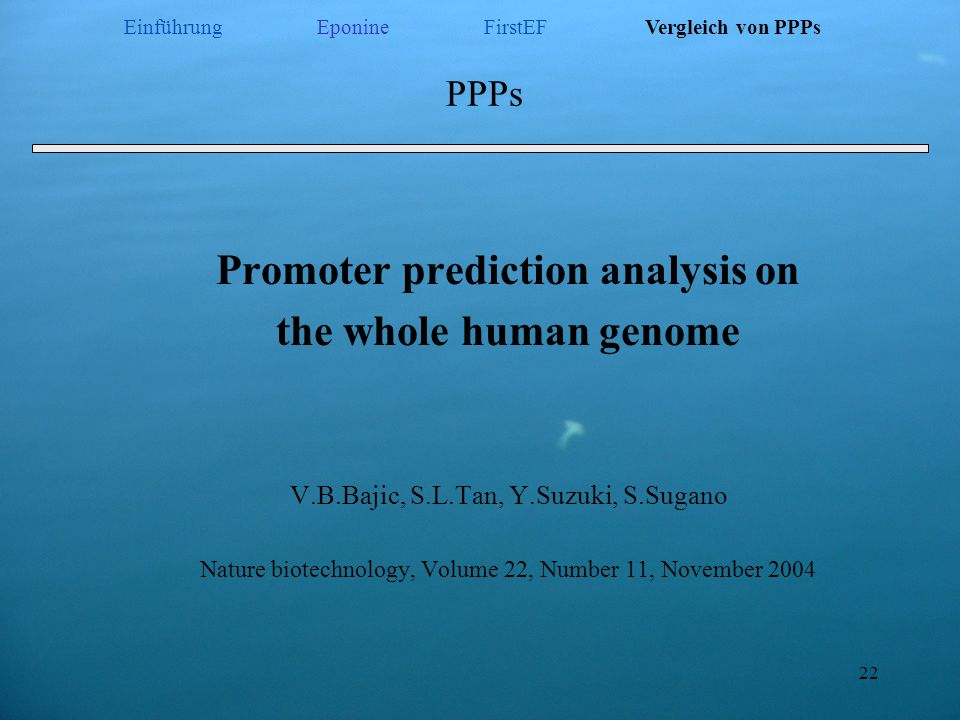 Promoter prediction analysis on
