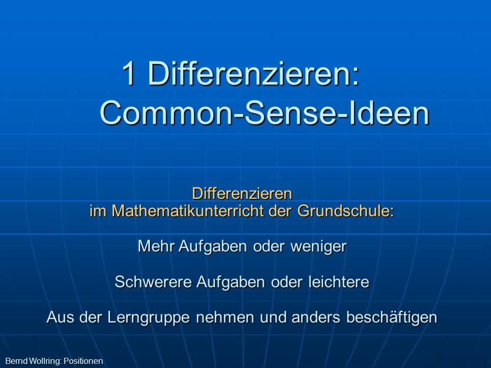 1 Differenzieren: Common-Sense-Ideen