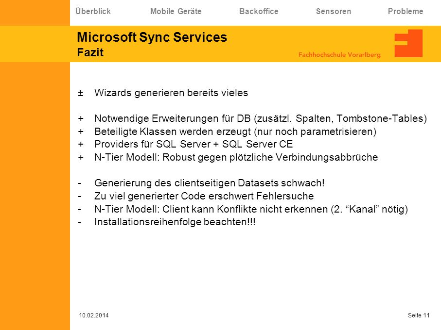 Microsoft Sync Services Fazit