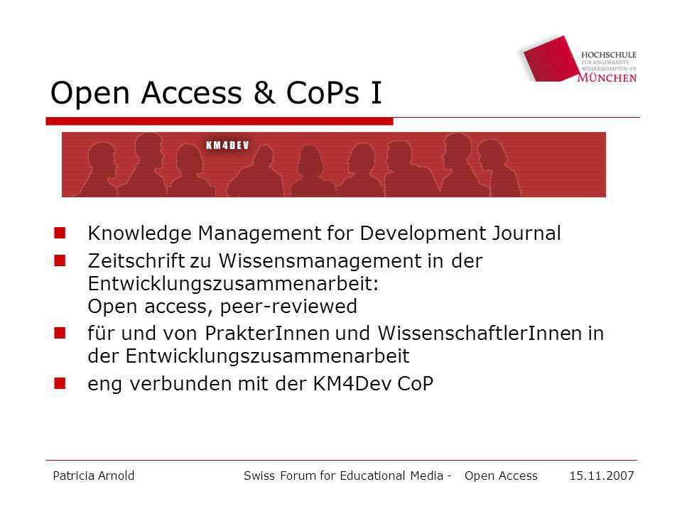 Open Access & CoPs I Knowledge Management for Development Journal