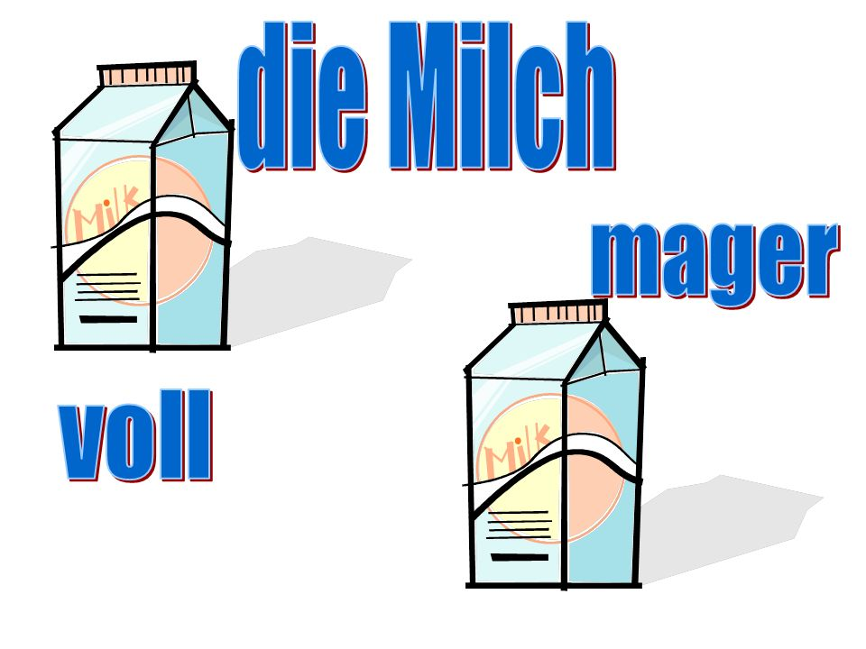 die Milch mager voll