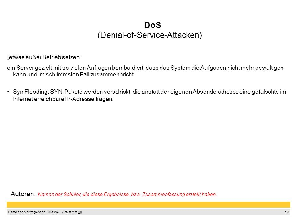 DoS (Denial-of-Service-Attacken)
