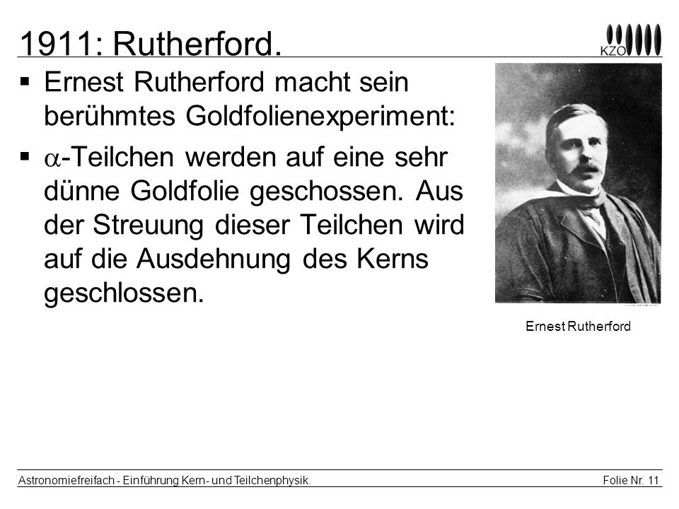 1911: Rutherford. Ernest Rutherford macht sein berühmtes Goldfolienexperiment: