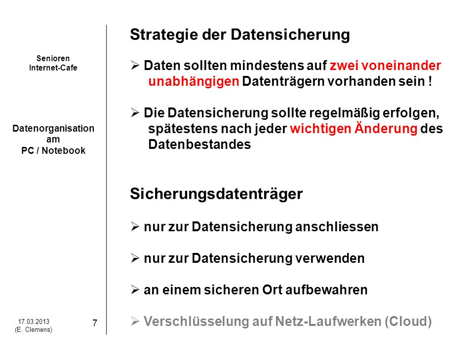 Strategie der Datensicherung
