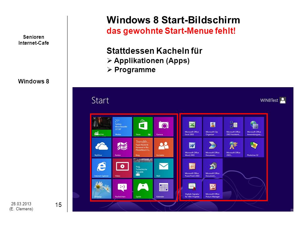 Windows 8 Start-Bildschirm