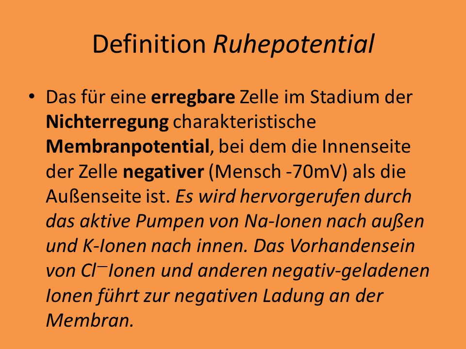 Definition Ruhepotential