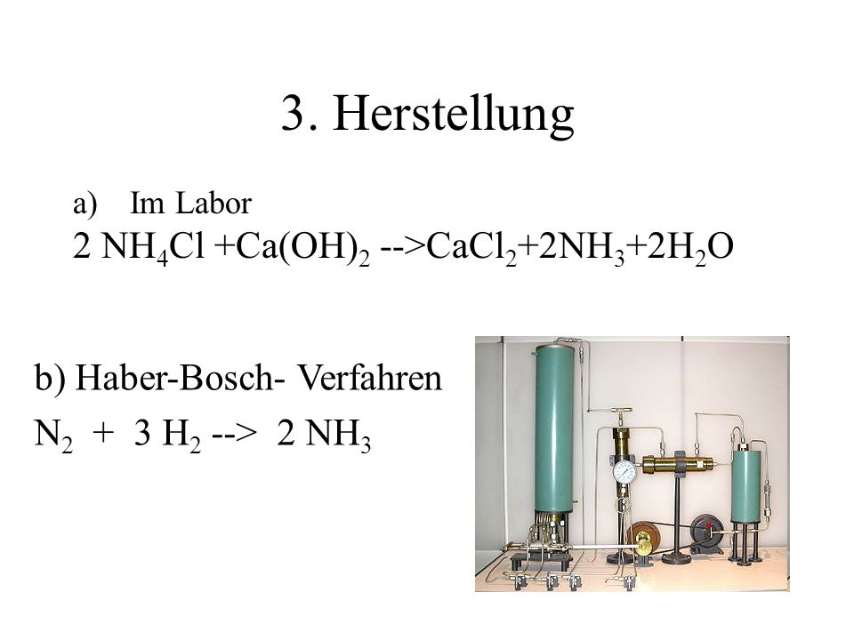 3. Herstellung 2 NH4Cl +Ca(OH)2 -->CaCl2+2NH3+2H2O