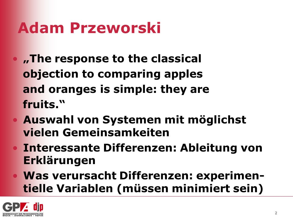 "Adam Przeworski ""The response to the classical"