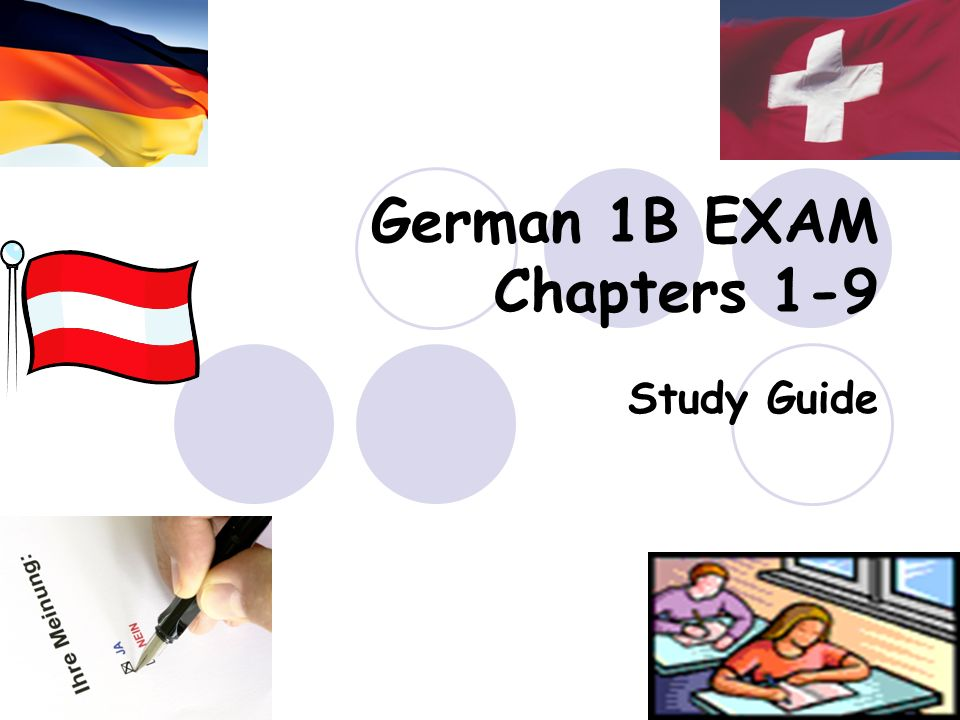 German 1B EXAM Chapters 1-9