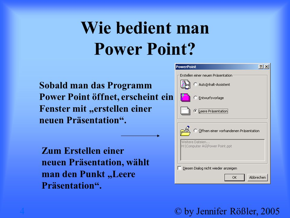 Wie bedient man Power Point