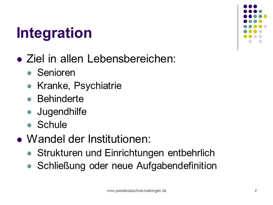 Integration Ziel in allen Lebensbereichen: Wandel der Institutionen: