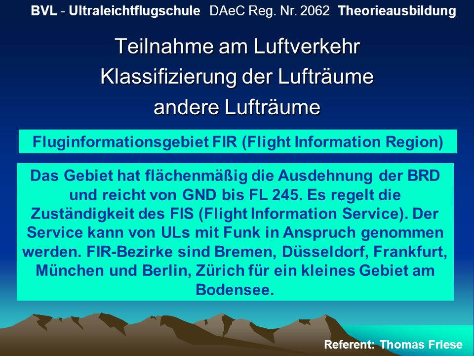 Fluginformationsgebiet FIR (Flight Information Region)