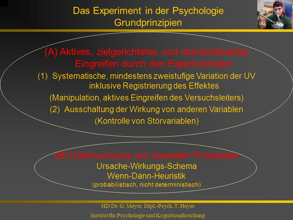 Das Experiment in der Psychologie Grundprinzipien