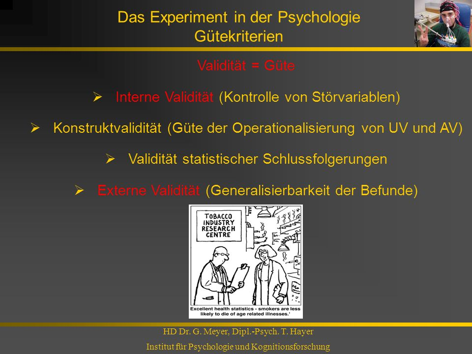 Das Experiment in der Psychologie Gütekriterien