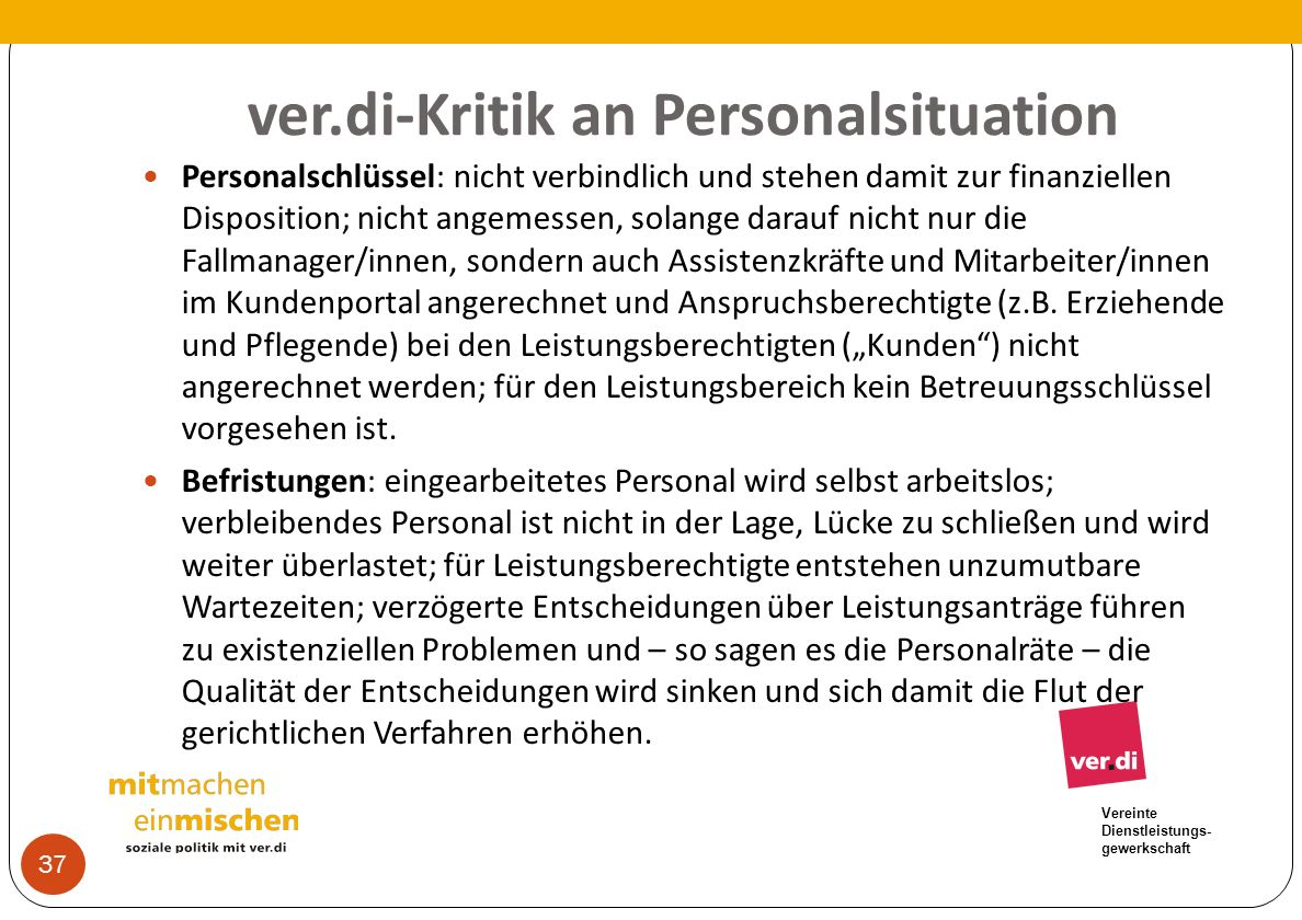ver.di-Kritik an Personalsituation