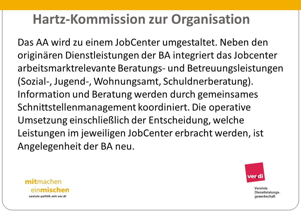 Hartz-Kommission zur Organisation