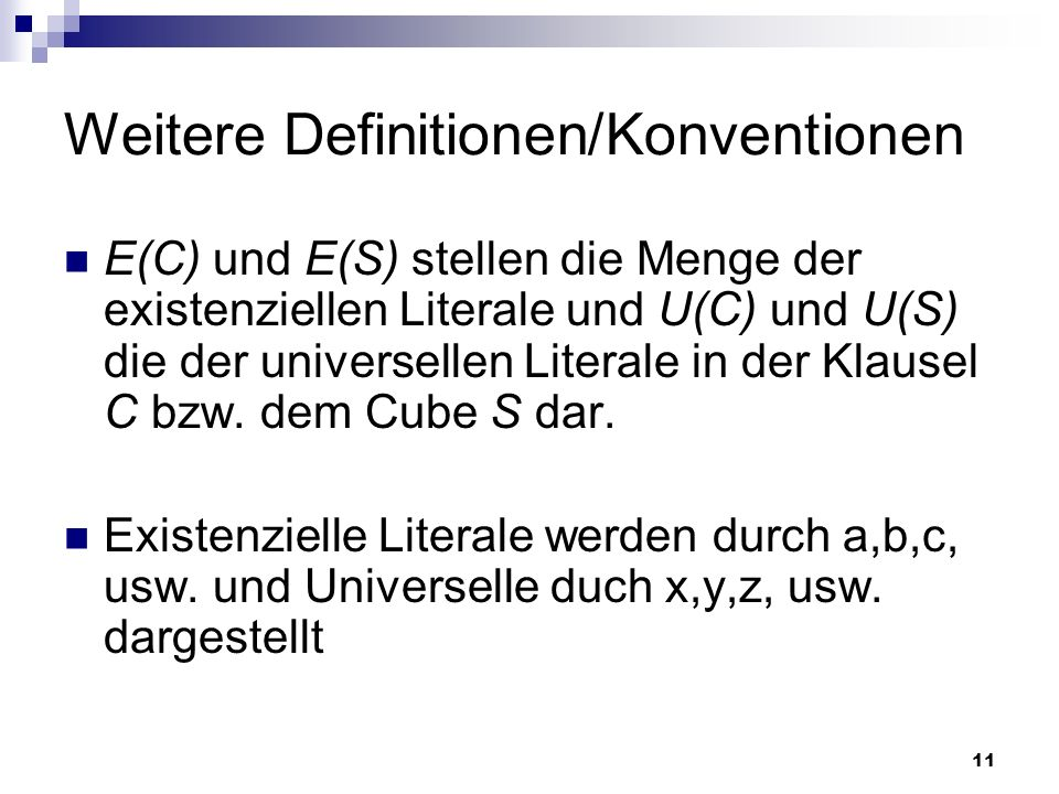 Weitere Definitionen/Konventionen