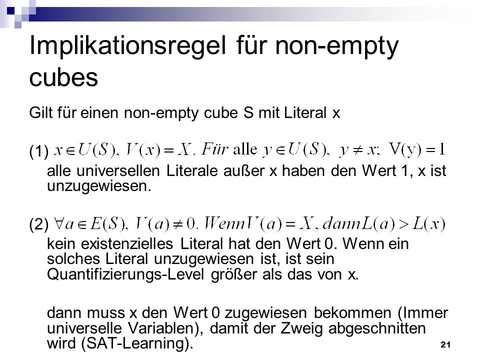 Implikationsregel für non-empty cubes