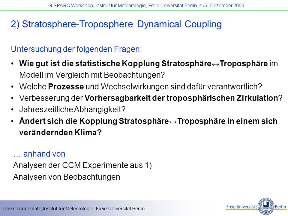 2) Stratosphere-Troposphere Dynamical Coupling