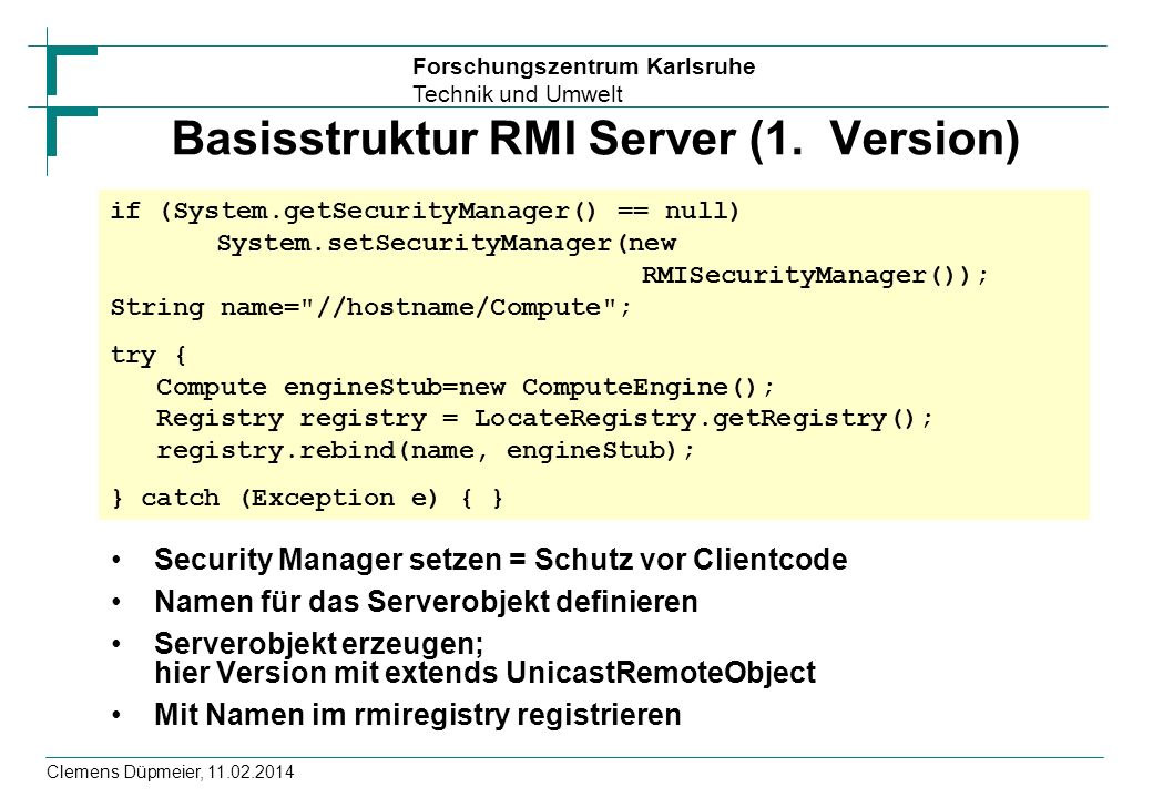 Basisstruktur RMI Server (1. Version)