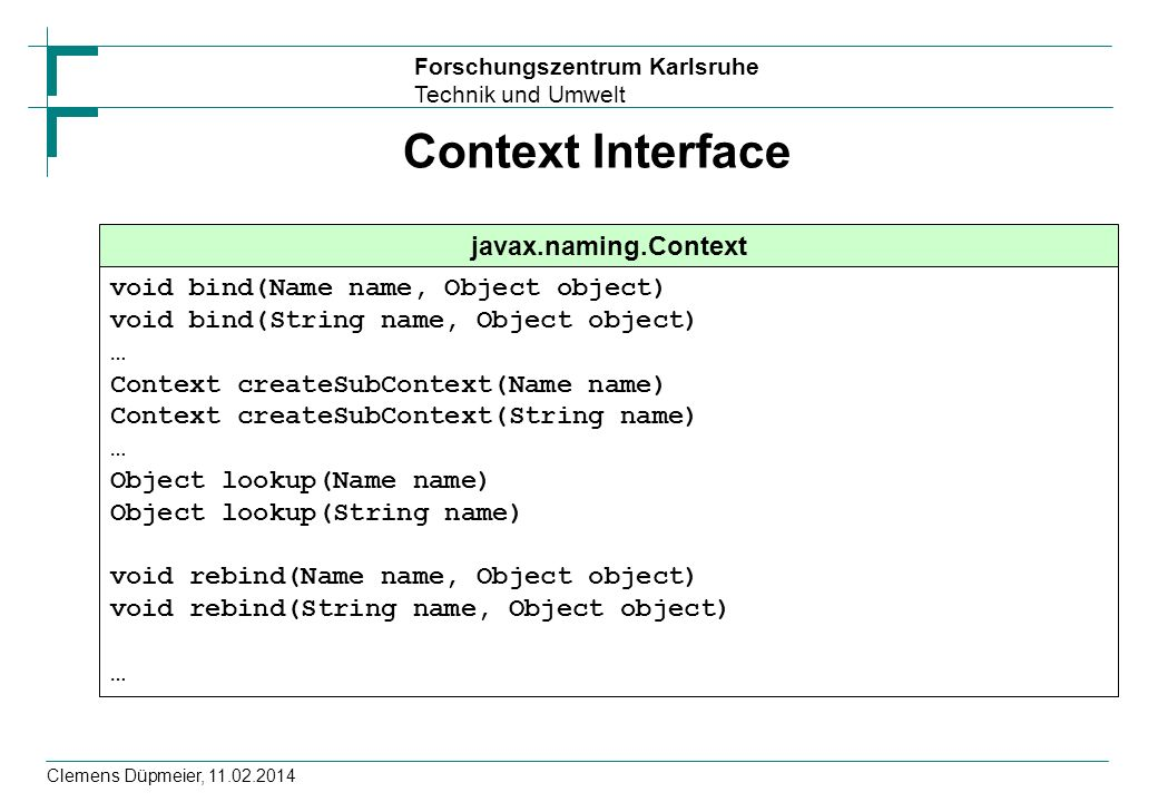 Context Interface javax.naming.Context
