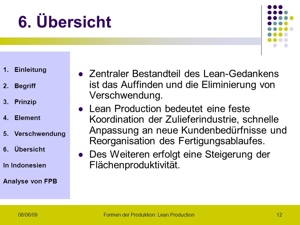 Formen der Produktion: Lean Production