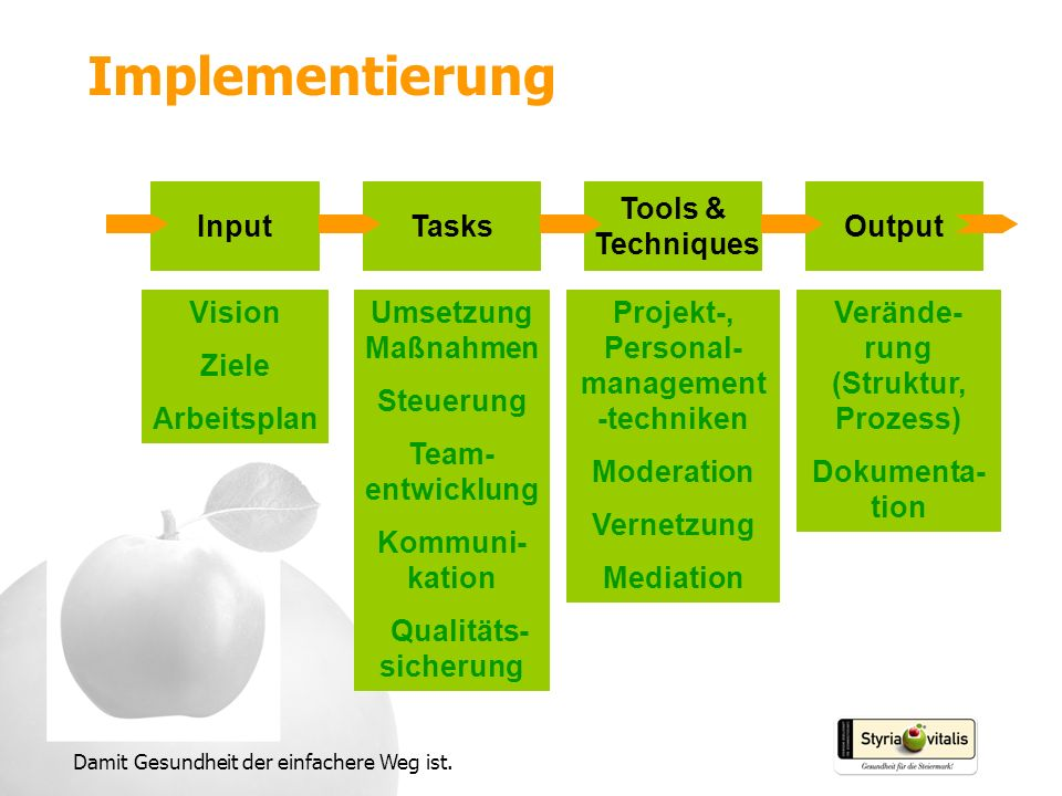 Implementierung Input Tasks Tools & Techniques Output Vision Ziele