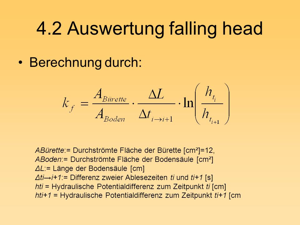 4.2 Auswertung falling head