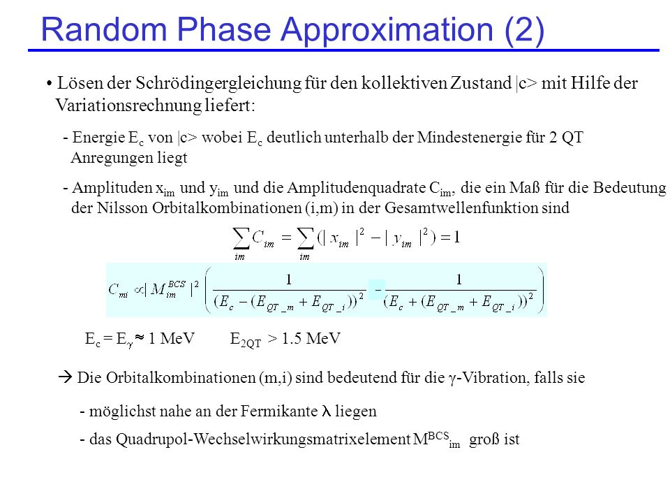 Random Phase Approximation (2)
