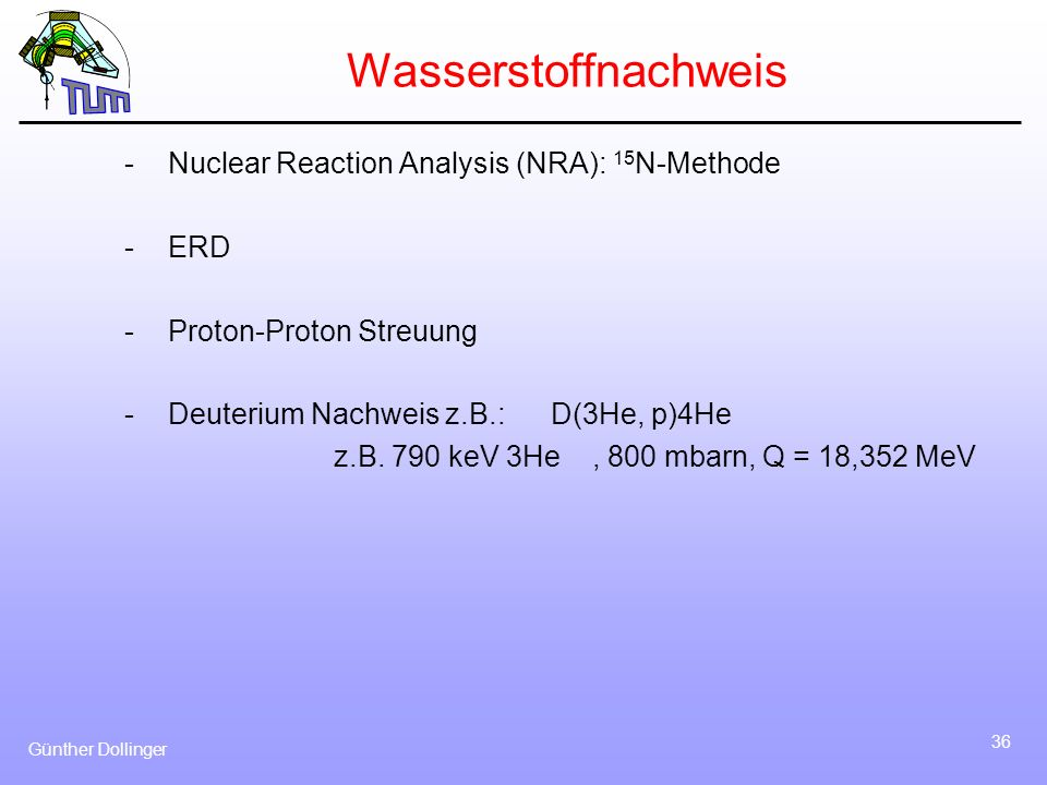 Wasserstoffnachweis Nuclear Reaction Analysis (NRA): 15N-Methode ERD