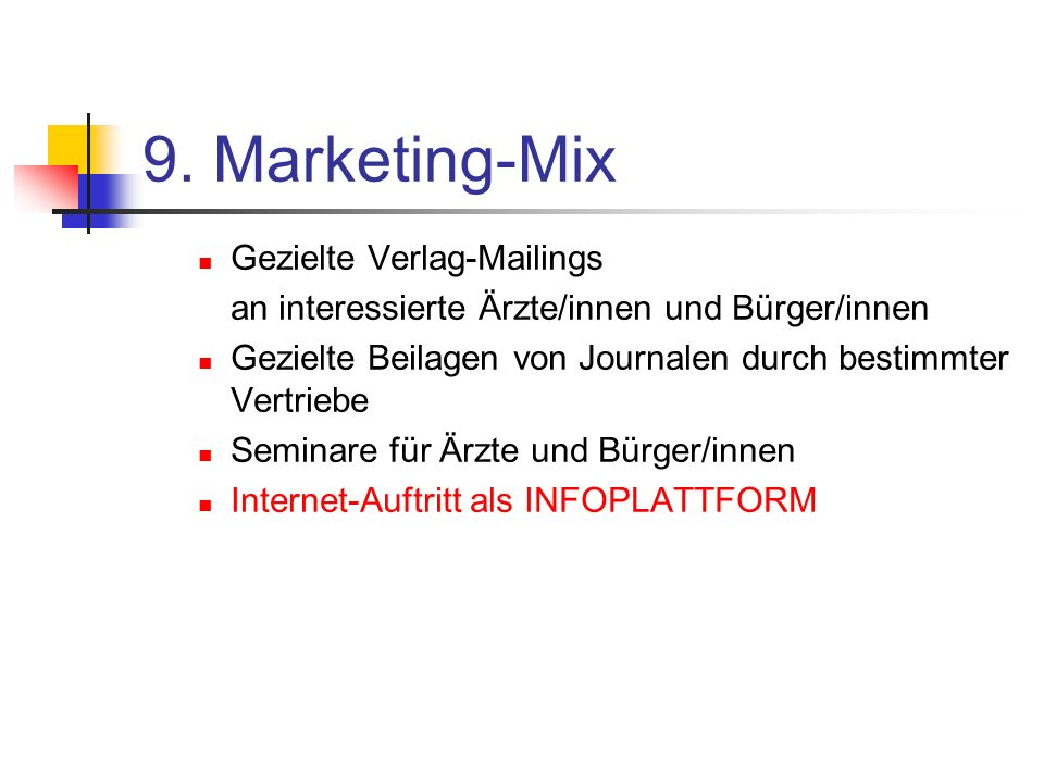 9. Marketing-Mix Gezielte Verlag-Mailings