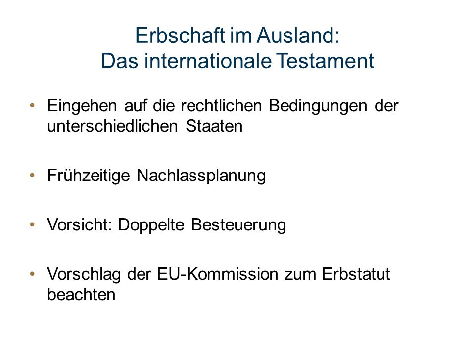 Das internationale Testament
