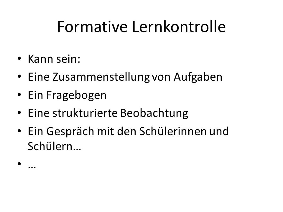Formative Lernkontrolle