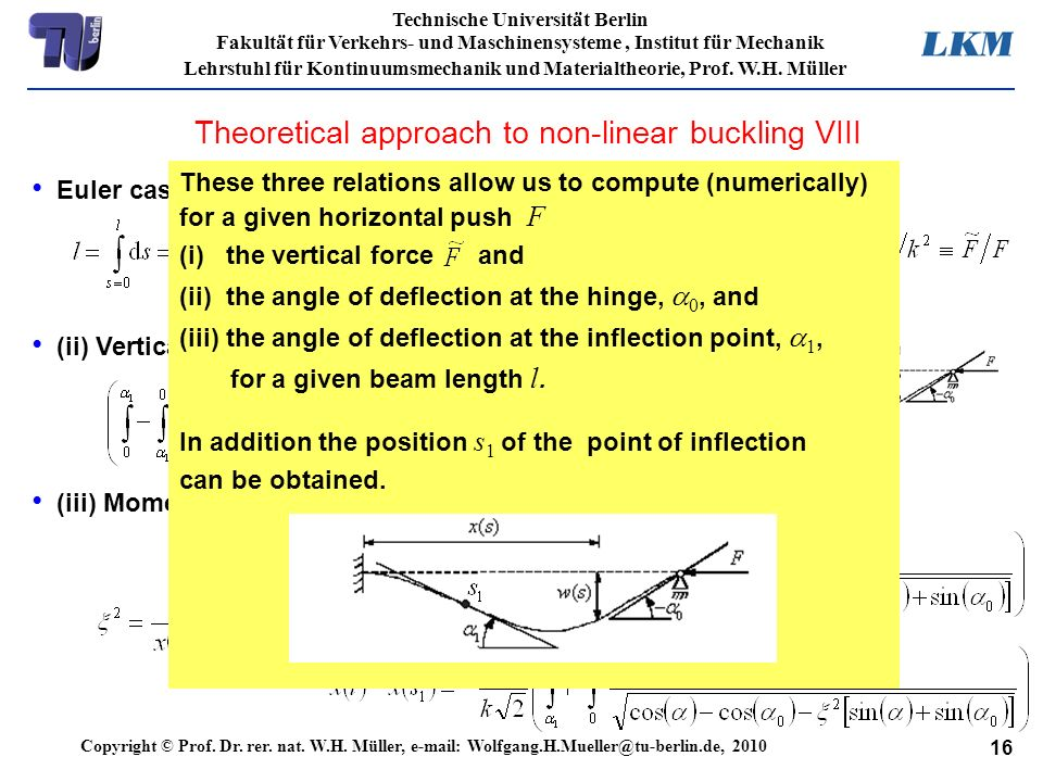 Theoretical approach to non-linear buckling VIII