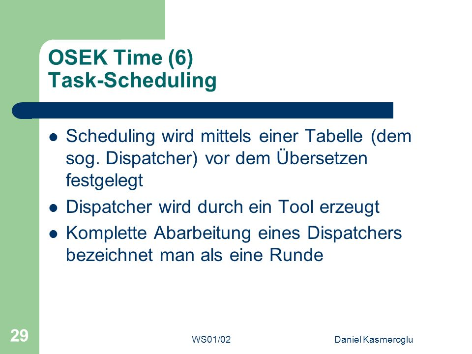 OSEK Time (6) Task-Scheduling