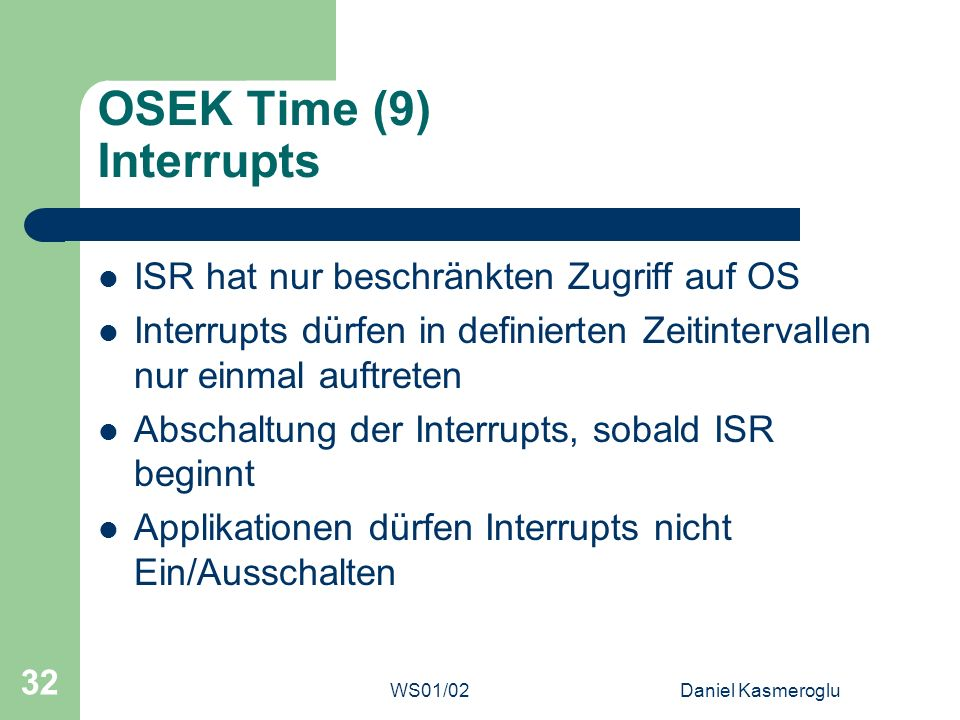 OSEK Time (9) Interrupts