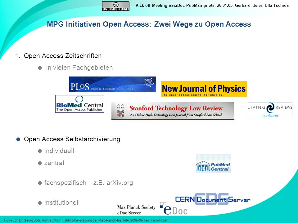 MPG Initiativen Open Access: Zwei Wege zu Open Access