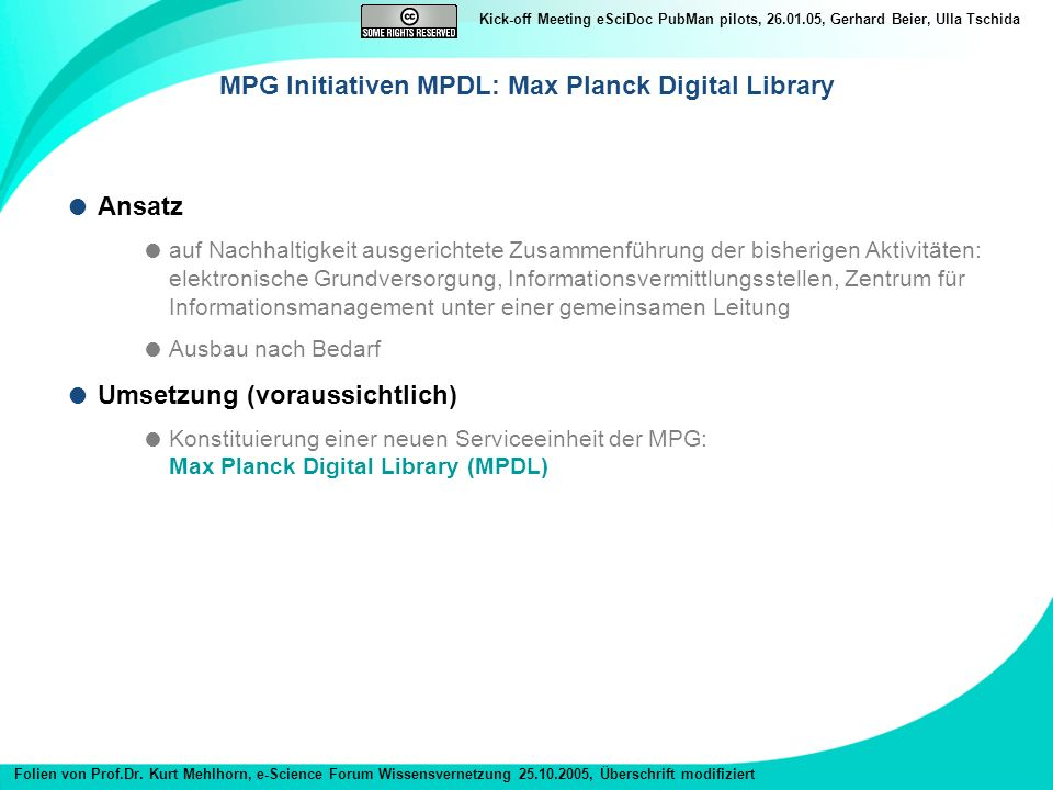 MPG Initiativen MPDL: Max Planck Digital Library