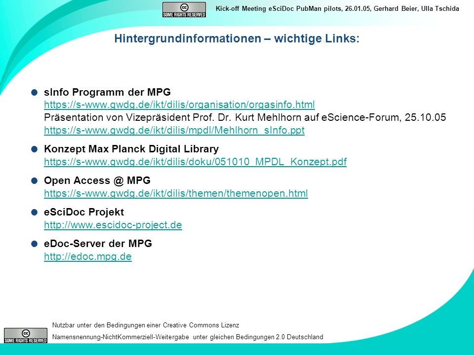 Hintergrundinformationen – wichtige Links: